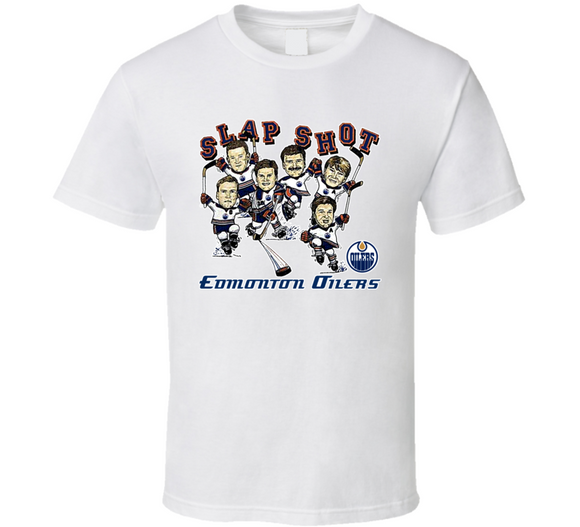 Edmonton Hockey Team Retro Caricature T Shirt