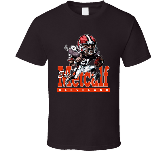 Eric Metcalf Cleveland Football Retro Caricature T Shirt