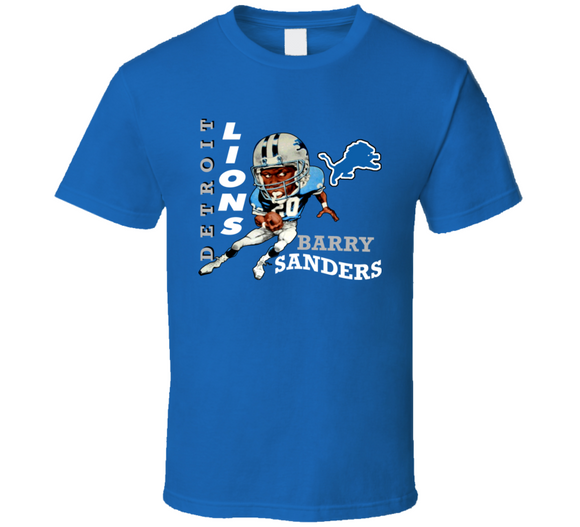 Barry Sanders GOAT Detroit Football Retro Caricature T Shirt