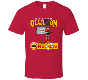 Hakeem Olajuwon Basketball Retro Caricature T Shirt