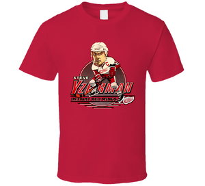 Steve Yzerman 19 Detroit Hockey Retro Caricature T Shirt
