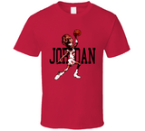 Michael Jordan Dunk Chicago Basketball Retro Caricature T Shirt