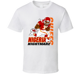 Christian Okoye Nigerian Nightmare Football Retro Caricature T Shirt