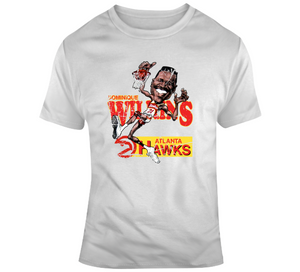Dominique Wilkins Atl Basketball Distressed Retro Caricature T Shirt