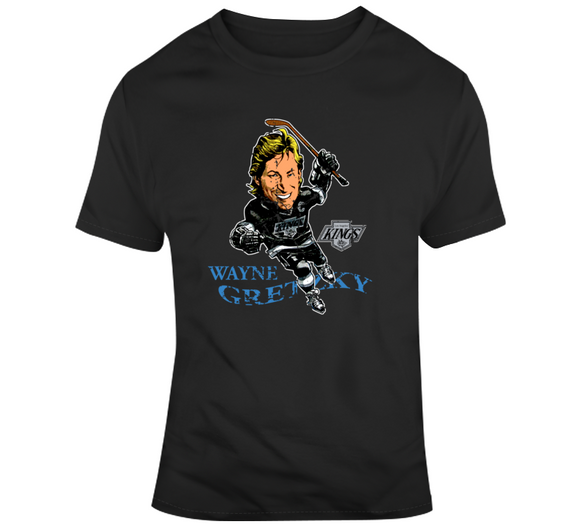 Wayne Gretzky Los Angeles Hockey Distressed Retro Caricature T Shirt