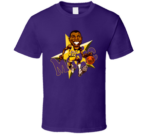 Magic Johnson Superstar LA Basketball Retro Basketball Caricature T Shirt