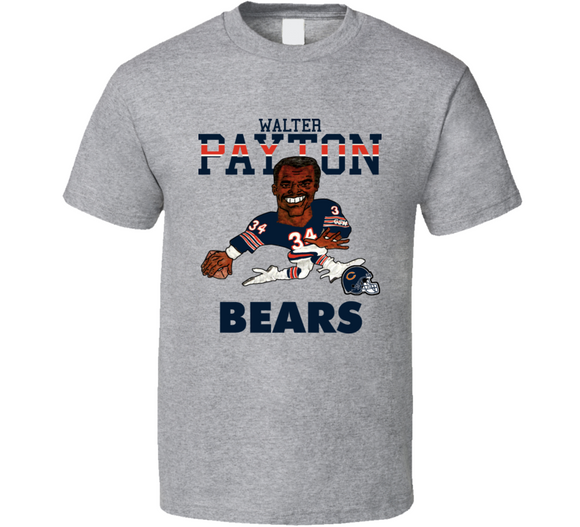 Walter Payton Chicago Football Retro Caricature T Shirt