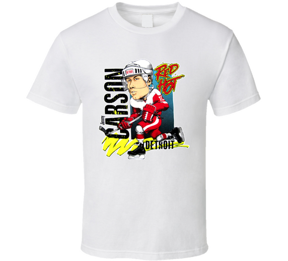 Jimmy Carson Detroit Hockey Retro Caricature T Shirt