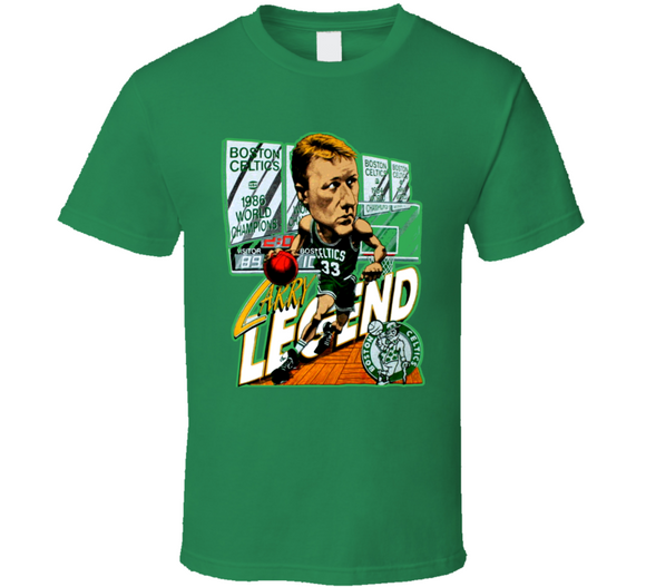 Larry Bird Larry Legend Boston Basketball Retro Caricature T Shirt
