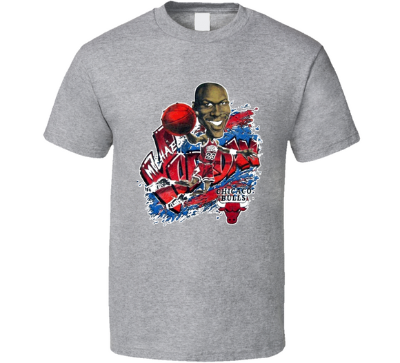Michael Jordan Chicago Basketball Retro Caricature T Shirt