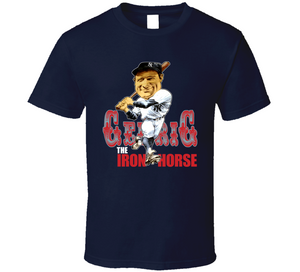 Lou Gehrig Iron Horse New York Baseball Retro Caricature T Shirt