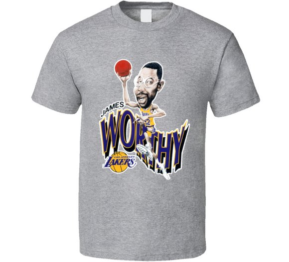 James Worthy Los Angeles Basketball Retro Caricature T Shirt