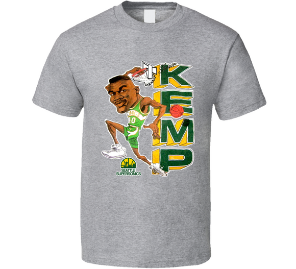 Shawn Kemp Seattle Basketball Retro Caricature T Shirt