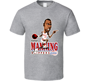 Danny Manning Basketball Los Angeles Retro Caricature T Shirt