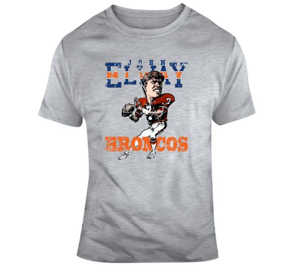 John Elway Football Denver Distressed Retro Caricature T Shirt