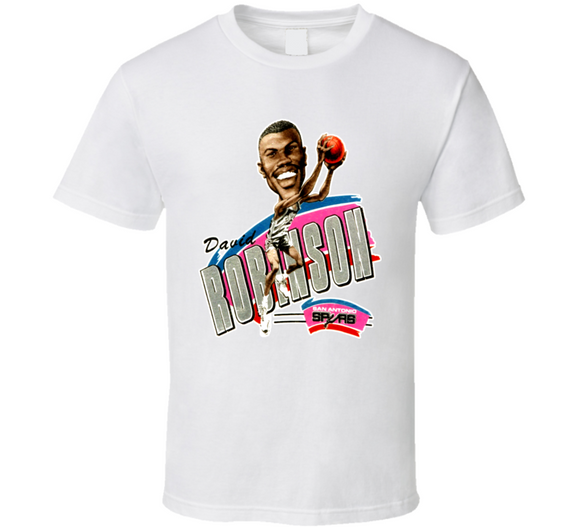 David Robinson San Antonio Basketball Legend Retro Caricature T Shirt