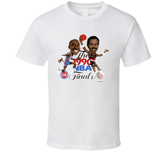 1990 Basketball Finals Drexler Isiah Retro Caricature T Shirt