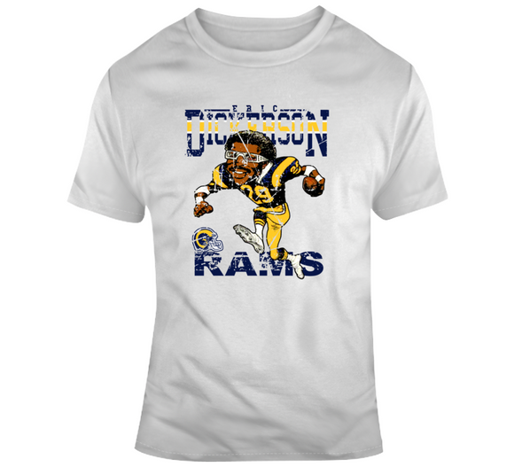 Eric Dickerson Football Los Angeles Distressed Retro Caricature T Shirt