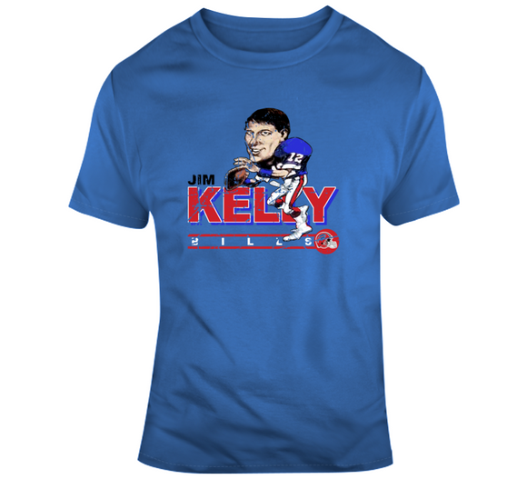 Jim Kelly Buffalo Football Distressed Retro Caricature T Shirt