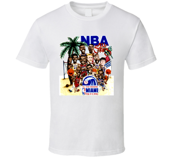 1990 All Star Game Basketball Retro Caricature T Shirt