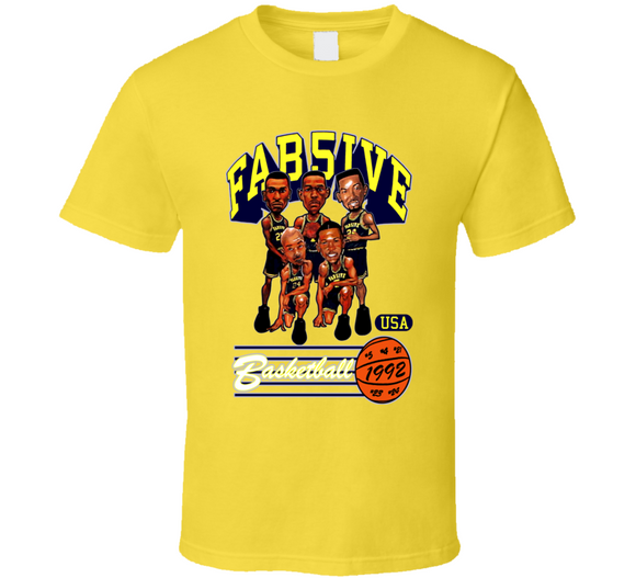 Fab Five Michigan Basketball Retro Caricature T Shirt