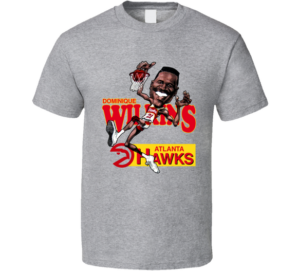 Dominique Wilkins Basketball Retro Caricature T Shirt