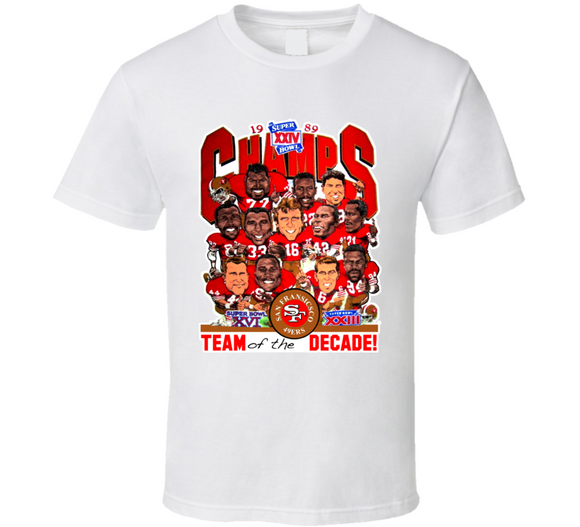 Joe Montana 1989 San Francisco Champs Football Retro Caricature T Shirt