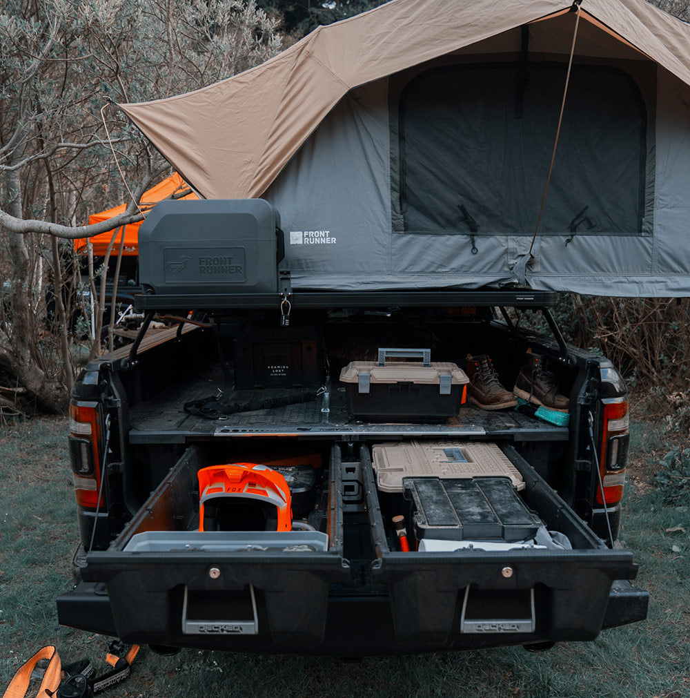 Overlanding vehicle rear view open drawers