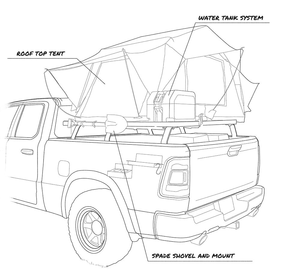 Overlanding vehicle tech illustration left view