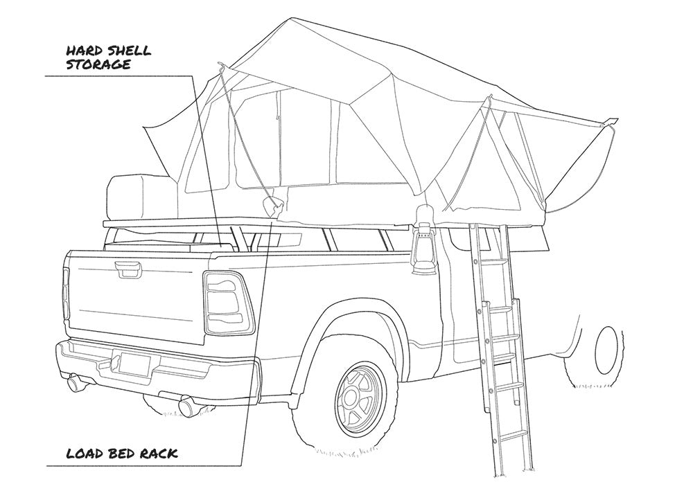 Overlanding vehicle tech illustration right view