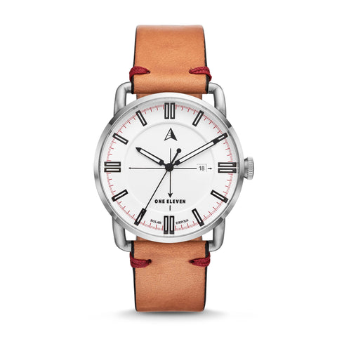 SW1 Solar 3-Hand Light Brown Leather Strap