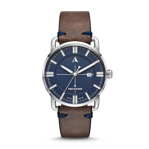 SW1 Solar 3-Hand Grey Leather Strap