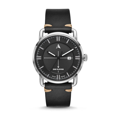 SW1 Solar 3-Hand Black Leather Strap