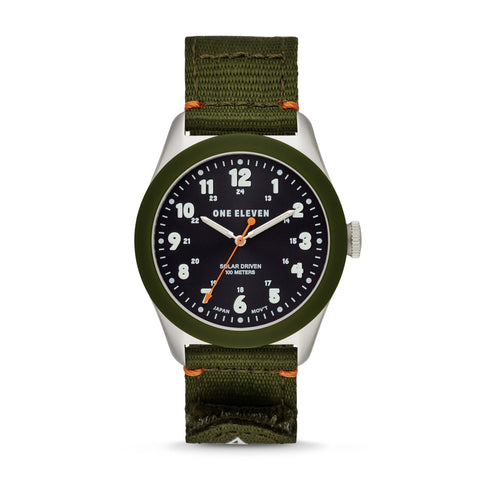 Solar Powered Sustainable Field Watch Olive rPet
