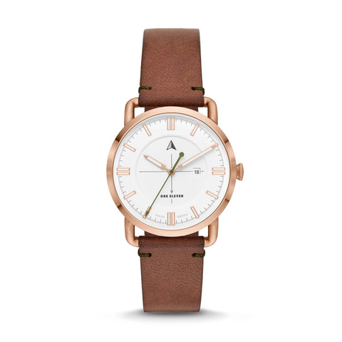 SW1 Solar 3-Hand Brown Leather Strap