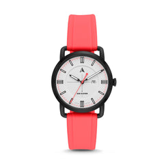 SW1 Solar Three-Hand Date Coral Silicone Watch