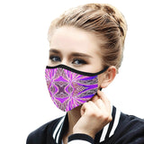 """Green Pulse"" Fuschia Mouth Mask with Ear Loops"