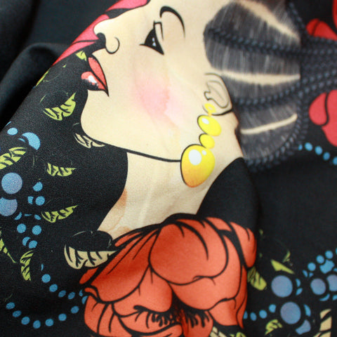 Black Floral Satin Print African clothing Material