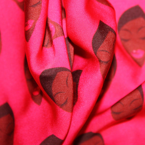 Pink African Clothing Print Fabric with lady in Pink Lipstick
