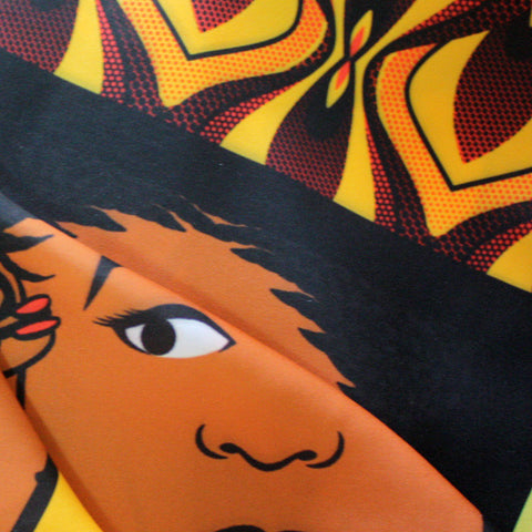 Orange and Yellow Ankara Wax Comic African Print Fabric