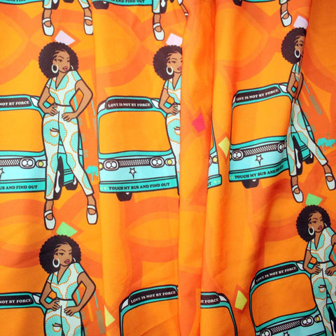 Orange Satin Ankara African Print Fabric