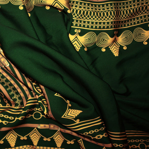 Green Dashiki Embriodered African Print Material