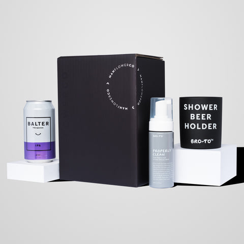 An alternative to standard skin care for men, The Man-Shower Essentials gift box.