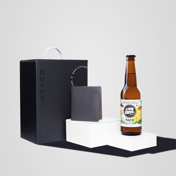 Manflower Co Bellroy Notesleeve Wallet and craft beer men's gift.