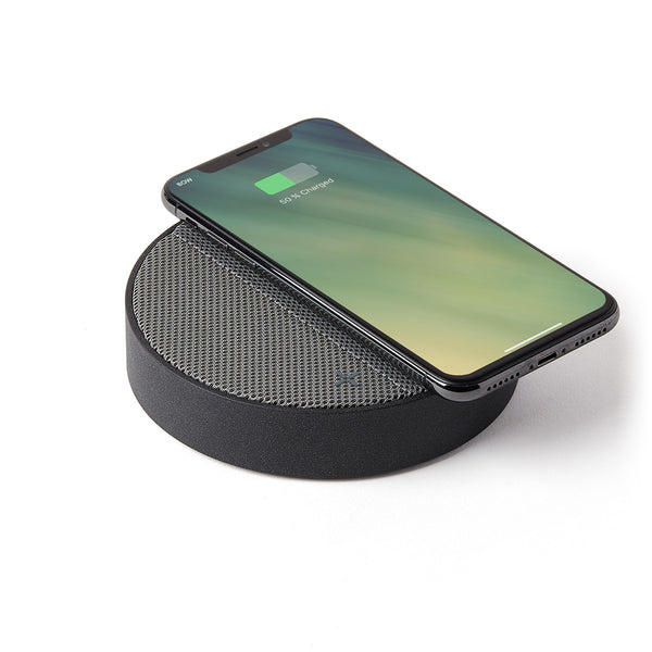Lexon Oslo Energy Wireless Charging Station Speaker - Black/Grey