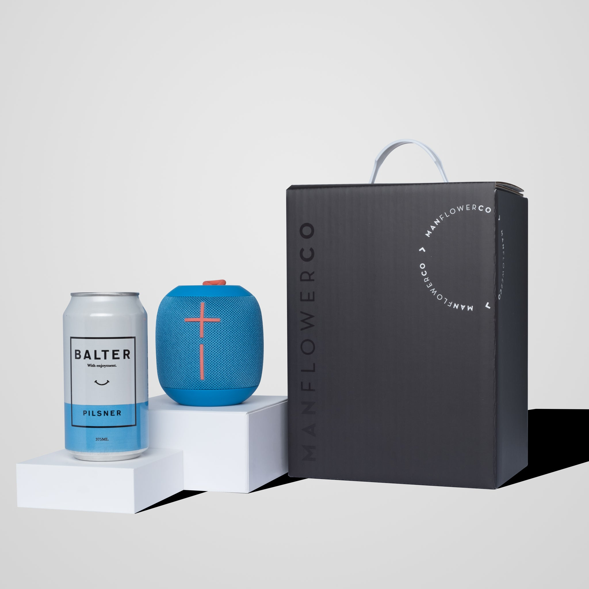 Image of Manflower Co gift box featuring Ultimate Ears Wonderboom.