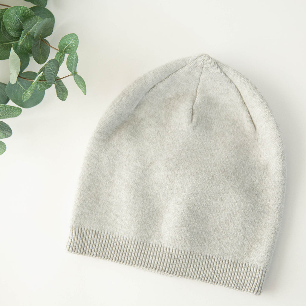 Heather Grey Cashmere Blend Beanie
