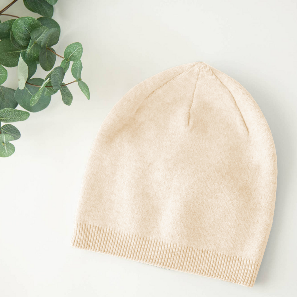 Ivory Cashmere Blend Beanie