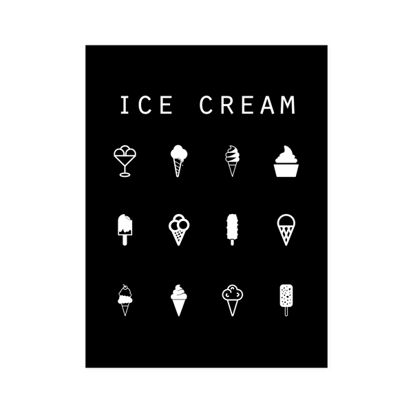 Ice Cream Black Poster - Beacon