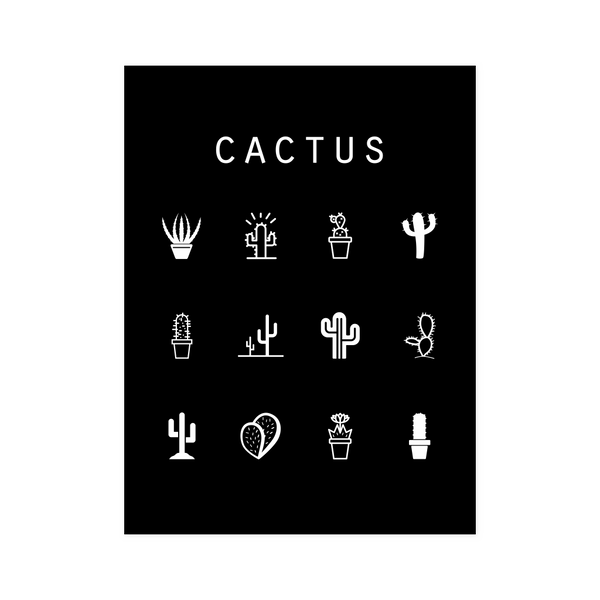 Cactus Black Poster - Beacon